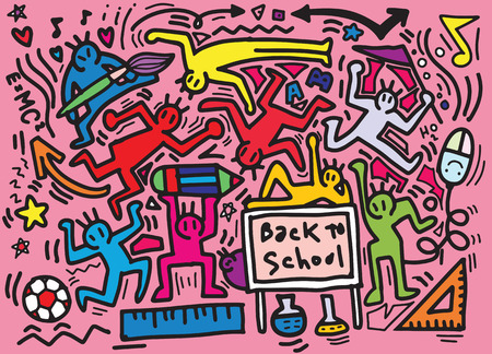 Hand drawing ,vector illustration of doodle on Back to School concept ,Flat Design Ilustrace