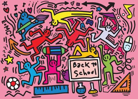 Hand drawing ,vector illustration of doodle on Back to School concept ,Flat Design Çizim
