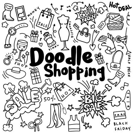 Hand tekening Winkelen Mode, Doodle stijl, vector illustratie Stock Illustratie