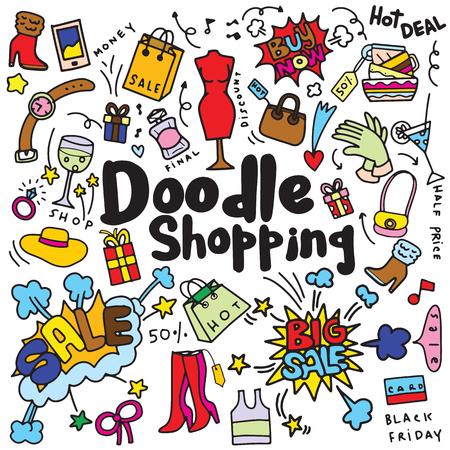 Handtekening Winkelen Mode, Doodle stijl, vector illustratie