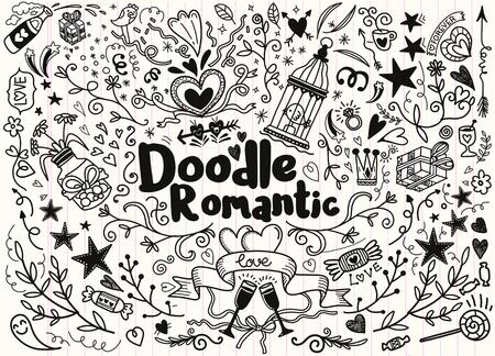 Gran conjunto de elementos de estilo romántico dibujado a mano con pancartas, insignias, flores, hojas, flechas. Elementos de diseño de tarjeta de felicitación, el amor, romántico conjunto de iconos, a mano alzada de dibujo vectorial. Foto de archivo - 84887407
