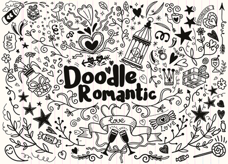 Big set of romantic style hand drawn elements with banners, badges, flowers, leaves, arrows. Greeting card design elements, love, romantic icon set,Freehand vector drawing. Stock Illustratie