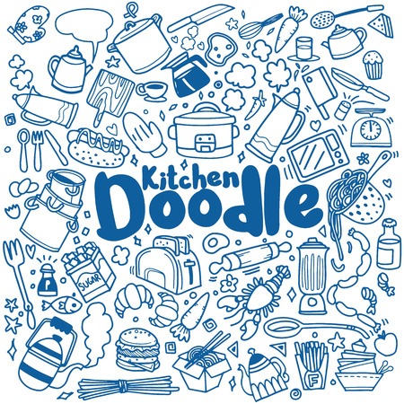 Foods and Kitchen doodles hand drawn sketchy vector symbols and objects,vector illustration Illustration