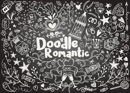 Big set of romantic style hand drawn elements with banners, badges, flowers, leaves, arrows. Greeting card design elements, love, romantic icon set,Freehand vector drawing.  イラスト・ベクター素材