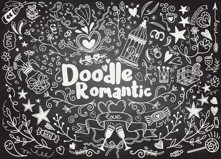 Grote reeks romantische stijlhand getrokken elementen met banners, kentekens, bloemen, bladeren, pijlen. Het ontwerpelementen van de groetkaart, liefde, romantische pictogramreeks, vectorillustratie uit de vrije hand.