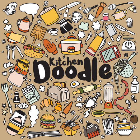 Foods and Kitchen doodles hand drawn sketchy vector symbols and objects,vector illustration 向量圖像