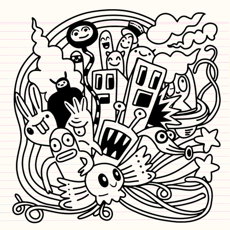 Hipster Hand drawn Crazy doodle Monster City,drawing style.Vector illustration