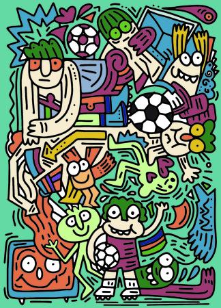 ヒップスターの手は面白い人の落書きベクトルイラストを描く, サッカー, サッカーの試合  イラスト・ベクター素材