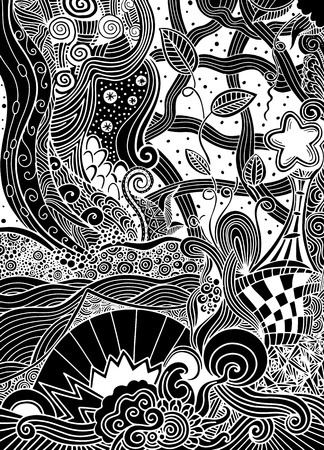 fantasy picture.the beautiful landscape, the trees. Sunlight. midnight. Mountains and plains. Hand drawn, ethnic, doodle, vector, zentangle. Ilustrace