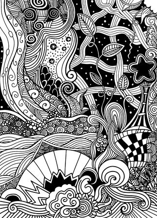 Image fantastique. Le beau paysage, les arbres. Lumière du soleil. minuit. Montagnes et plaines. Tiré à la main, ethnique, griffonnage, vecteur, zentangle. Banque d'images - 85119859