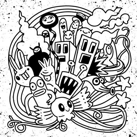 Hipster Hand getrokken Crazy doodle Monster City, tekening stijl. Vectorillustratie Stock Illustratie