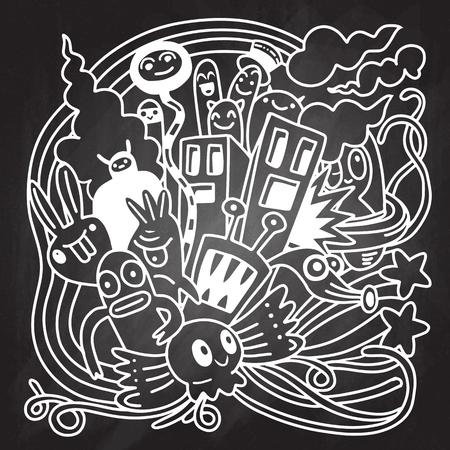 Hipster Hand getrokken Crazy doodle Monster City, tekening stijl. Vectorillustratie