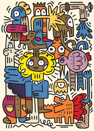 heureux d & # 39 ; un dessin animé de dessin à la main doodle . hand drawn style vecteur illustration main