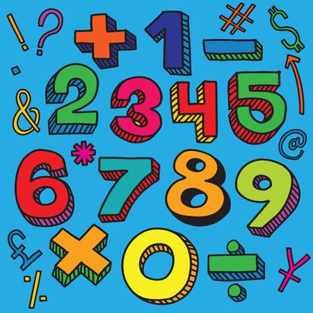Skizze Zahlen Stil, Vektor-Illustration Retro-Stil, Beschriftung Standard-Bild - 86132620