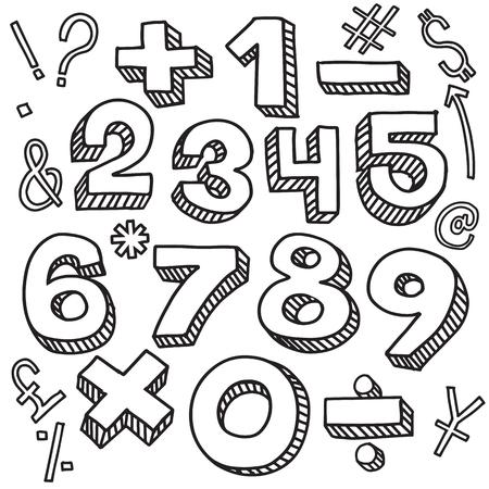 Números de estilo de dibujo, ilustración vectorial estilo retro, letras