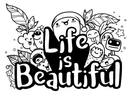 La vie est un bel ensemble d'affiches et de citations de typographie de monstre. ?uvres d'art à porter. illustration inspirante de vecteur Banque d'images - 86079561