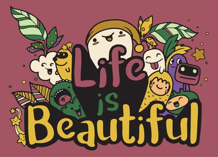 La vie est un bel ensemble d'affiches et de citations de typographie de monstre. ?uvres d'art à porter. illustration inspirante de vecteur Banque d'images - 86079563