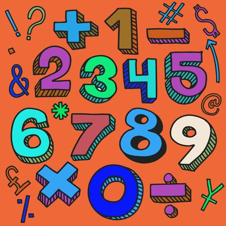 Getallen schets en wiskundige symbolen in retro stijl, belettering, cartoon afbeelding. Stock Illustratie