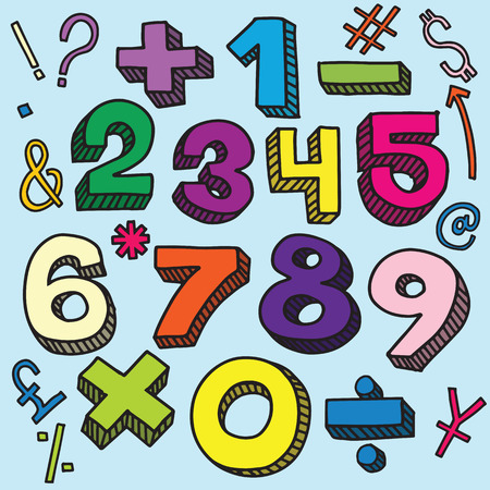 Numbers sketch and mathematical symbols in retro style, lettering, cartoon illustration.