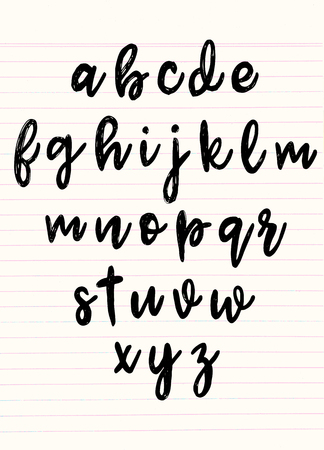 Font pencil vintage hand drawn alphabet drawing with chalk on background.Vector illustration Illustration