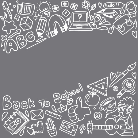 Vector sketch back to school background. Doodle illustration of stationery isolated over white with copyspace. Template can used for design, branding, web, brochures, folder, banners, leaflet.