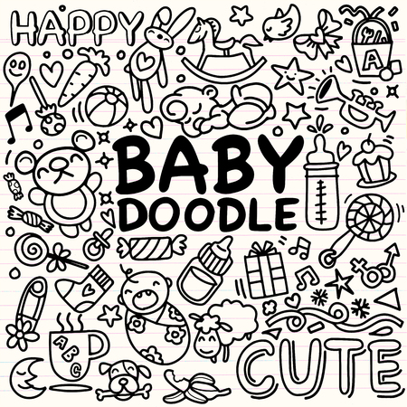 Sketchy vector hand drawn Doodle cartoon set of objects and symbols on the baby theme,Vector Illustration Иллюстрация