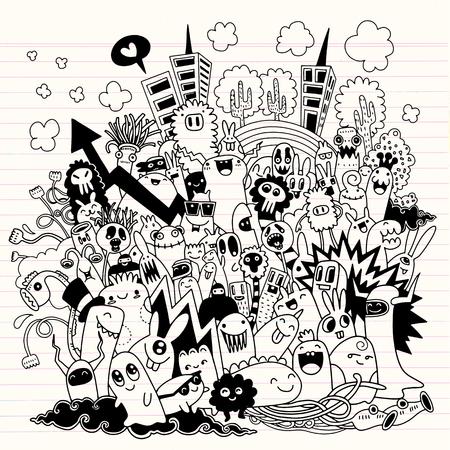 Dibujado a mano ilustración vectorial de Doodle ciudad monstruo, dibujo de herramientas de línea de illustrator, diseño plano Ilustración de vector