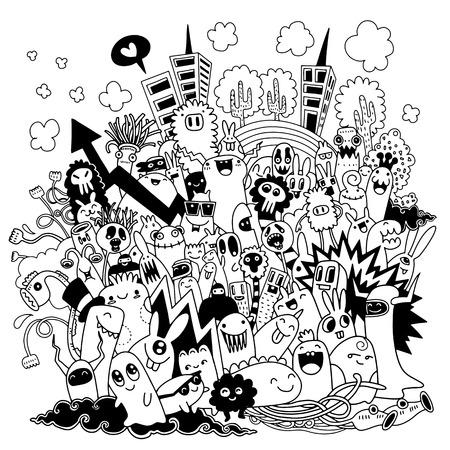 Dibujado a mano ilustración vectorial de la ciudad del monstruo Doodle, dibujo de herramientas de línea de ilustrador, diseño plano