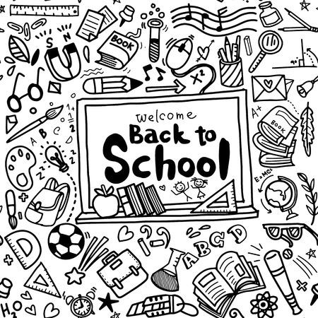 Bienvenue Retour à l'affiche de l'école avec doodles, bon pour le design de tissu textile, papier peint et fonds d'écran de site web, doodle de fond transparent. Illustration dessinée à main. Vecteurs