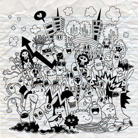 Illustrazione disegnata a mano di vettore della città del mostro di scarabocchio, linea strumenti degli illustratori che disegnano, progettazione piana Archivio Fotografico - 86384423