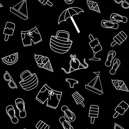 Summer beach hand drawn vector symbols and objects,Summer Doodles. Summer Icon Set.seamless background doodle .Vector hand drawn illustration.