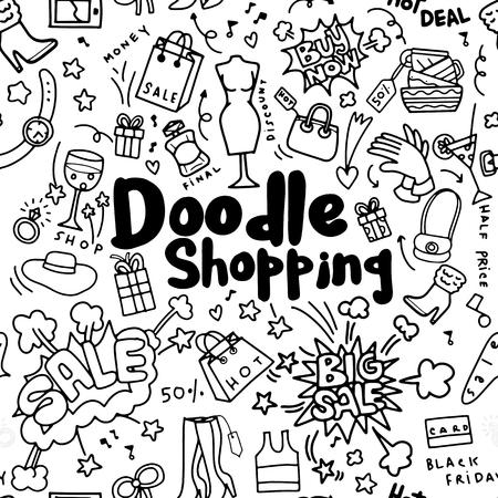 Handtekening het Winkelen Manier, Krabbelstijl, naadloze krabbel als achtergrond Vector hand getrokken illustratie.