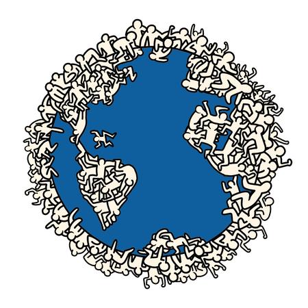 Earth globe with people, illustrator line tools drawing. Illustration