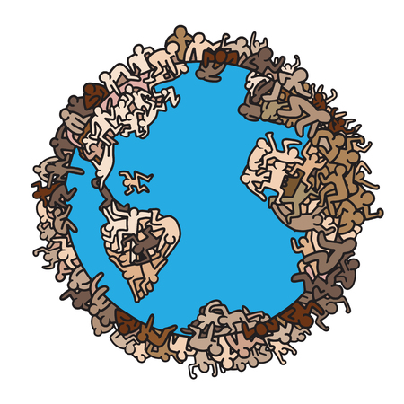 Earth globe with people