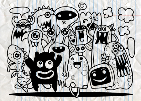 Cute Monster Set, Hand drawing cute doodle monster group,Flat Design Vector illustration. doodle style