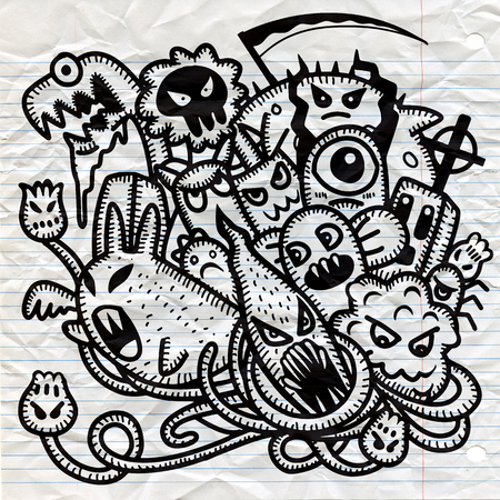 Hipster Hand getrokken Crazy doodle Monster groep, tekening stijl. Vectorillustratie