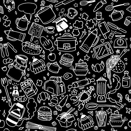Cibi e Doodles di cucina disegnati a mano simboli vettoriali sketchy e oggetti, illustrazione vettoriale Archivio Fotografico - 86967513
