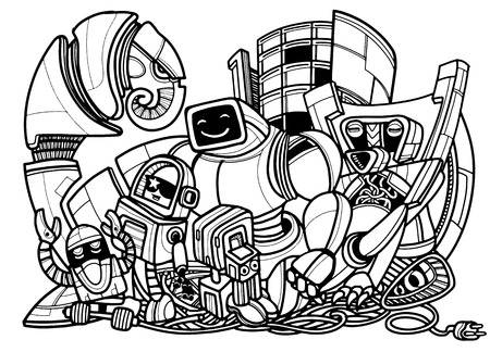 Set of vector robots in cartoon style. Isolated vector robots,Vector illustration