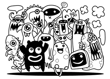Leuke Monsterreeks, Hand die de leuke groep van het krabbelmonster, Vlakke Ontwerp Vectorillustratie trekken. doodle stijl Stock Illustratie