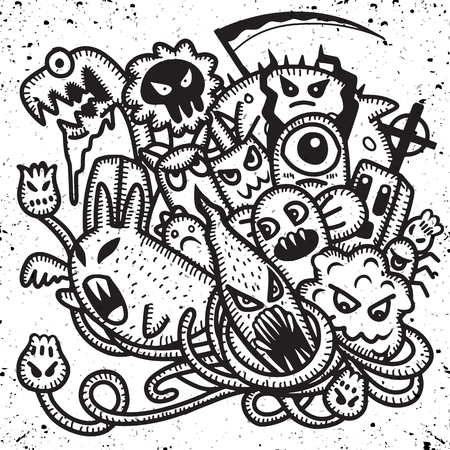 Hipster Hand drawn Crazy doodle Monster group, drawing style.Vector illustration Ilustracja