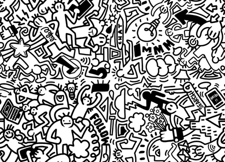 Vector line art Doodle cartoon set of people , objects and symbols on the Social Media theme