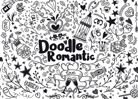 Big set of romantic style hand drawn elements with banners, badges, flowers, leaves, arrows. Greeting card design elements, love, romantic icon set,Freehand vector drawing. Иллюстрация