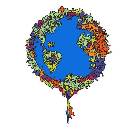 Illustrazione disegnata a mano di vettore, globo della terra con la gente, linea strumenti dell'illustrazione che disegnano, progettazione piana Archivio Fotografico - 87050511