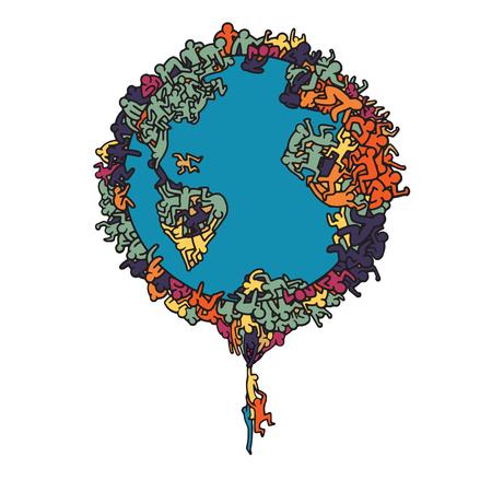 Hand Drawn Vector Illustration , Earth globe with people, illustrator line tools drawing,Flat Design Иллюстрация