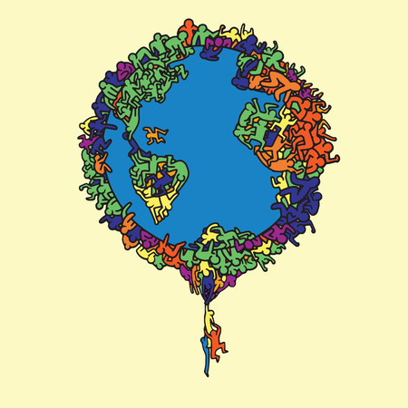 Hand Drawn Vector Illustration , Earth globe with people, illustrator line tools drawing,Flat Design Vectores