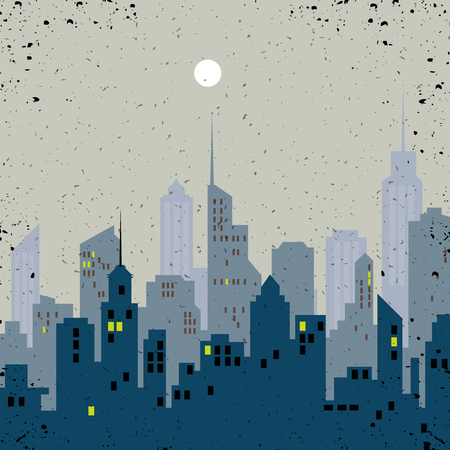 A silhouette City skyline vector illustration.