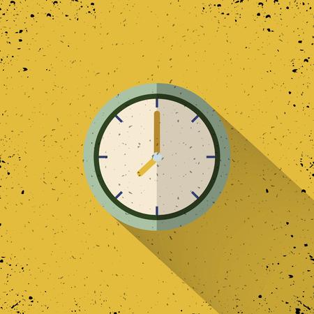 Clock icon design. Vector office clock icon with shadow.