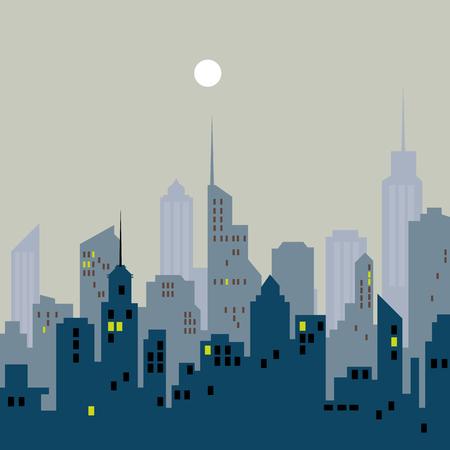 City skyline illustration, Urban landscape, Blue city silhouette, Cityscape in flat style, Modern city landscape.