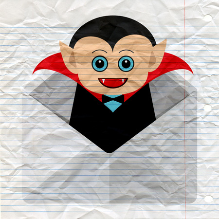 Invitation design for Halloween party with cute dracula in envelope, Funny Halloween design which can be used for greeting card, invitation, poster.