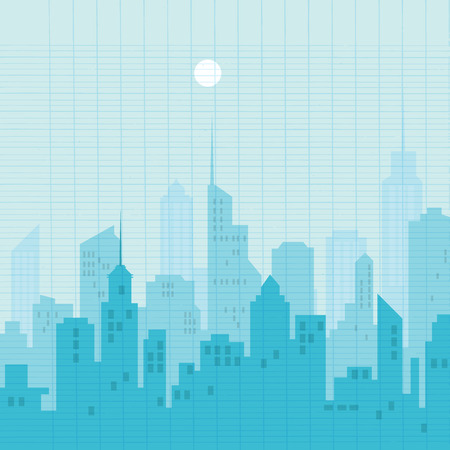 A City silhouette skyline vector illustration. Reklamní fotografie - 87351250